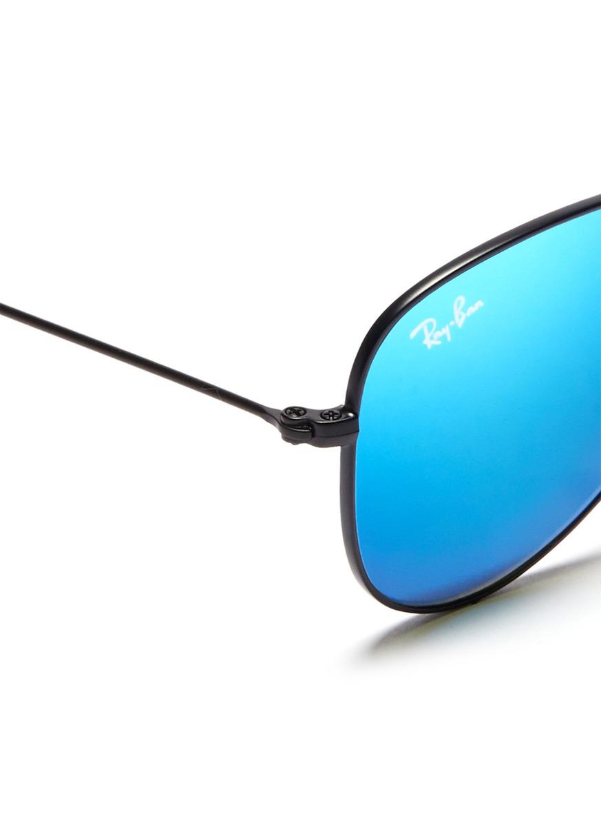lyst ray ban 39 aviator junior 39 metal frame mirror sunglasses in blue for men. Black Bedroom Furniture Sets. Home Design Ideas