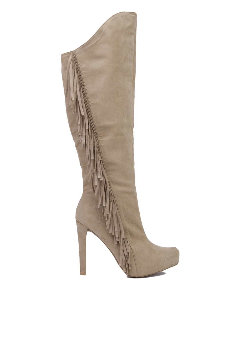 side fringe knee high heeled boots taupe in brown