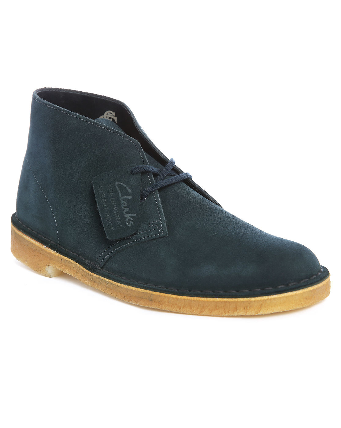 clarks navy suede desert boots in blue for lyst