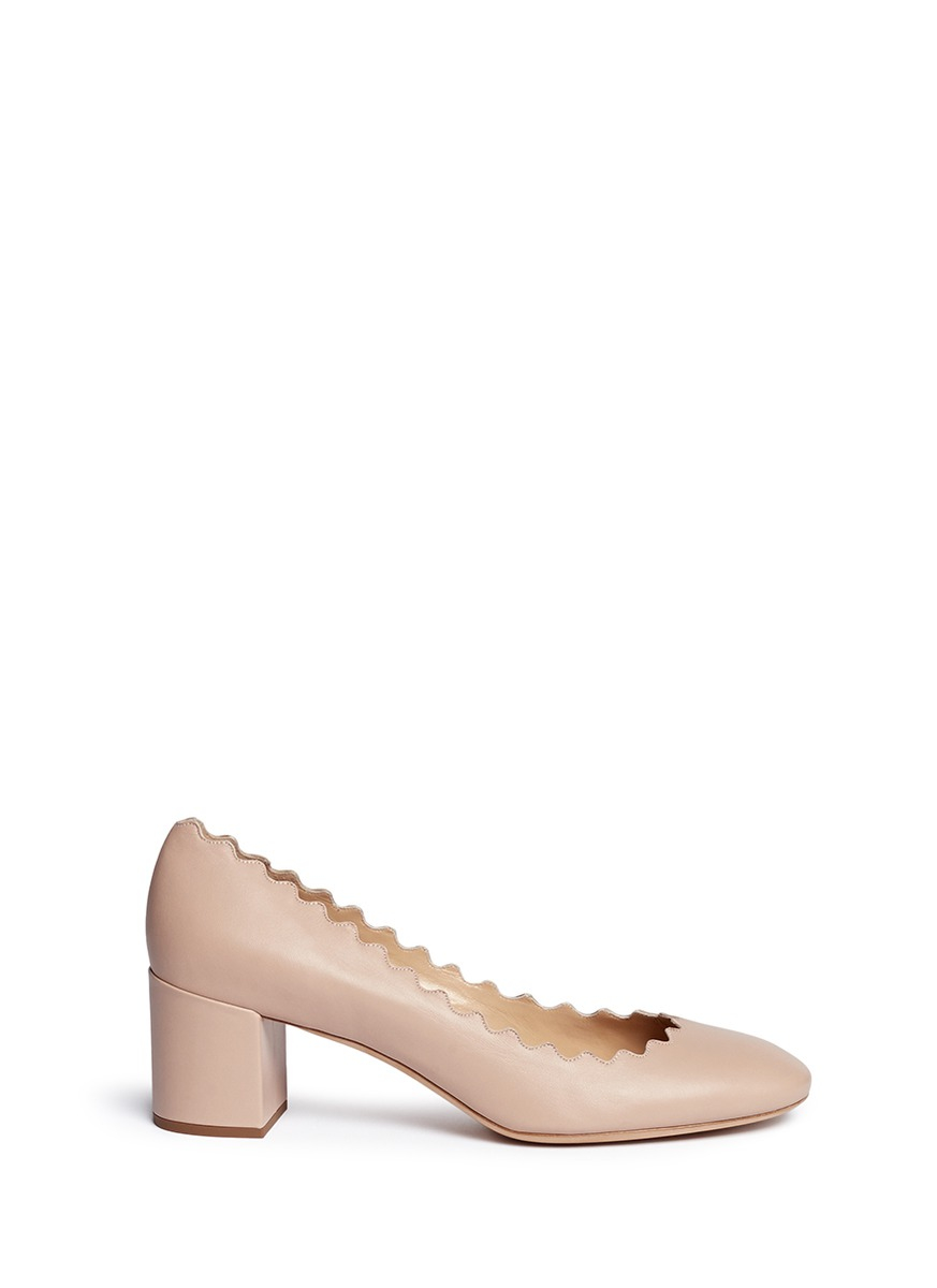 0b37ce512 Chloé 'lauren' Scalloped Edge Leather Pumps in Pink - Lyst