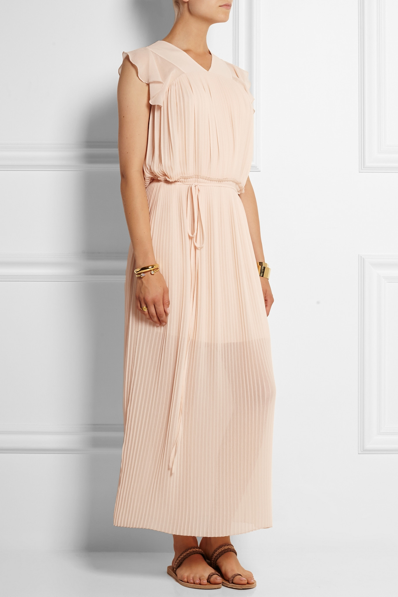 4b19462a61 See By Chloé Blue Pleated Georgette Maxi Dress