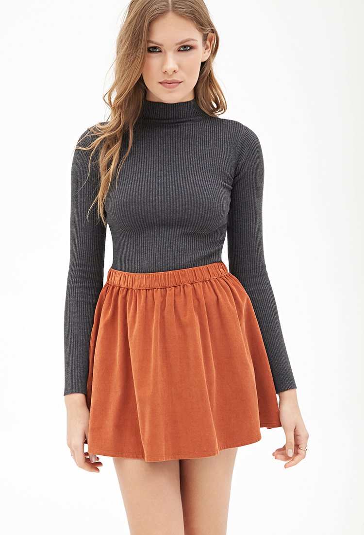 lyst - forever 21 contemporary flared corduroy mini skirt in brown