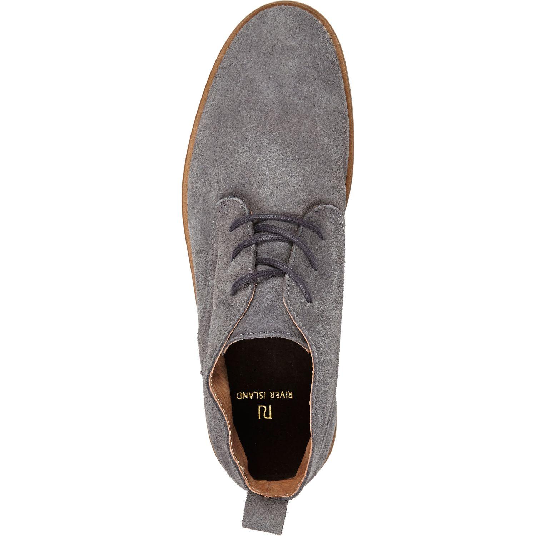 53d7618667b River Island Gray Grey Suede Desert Boots for men