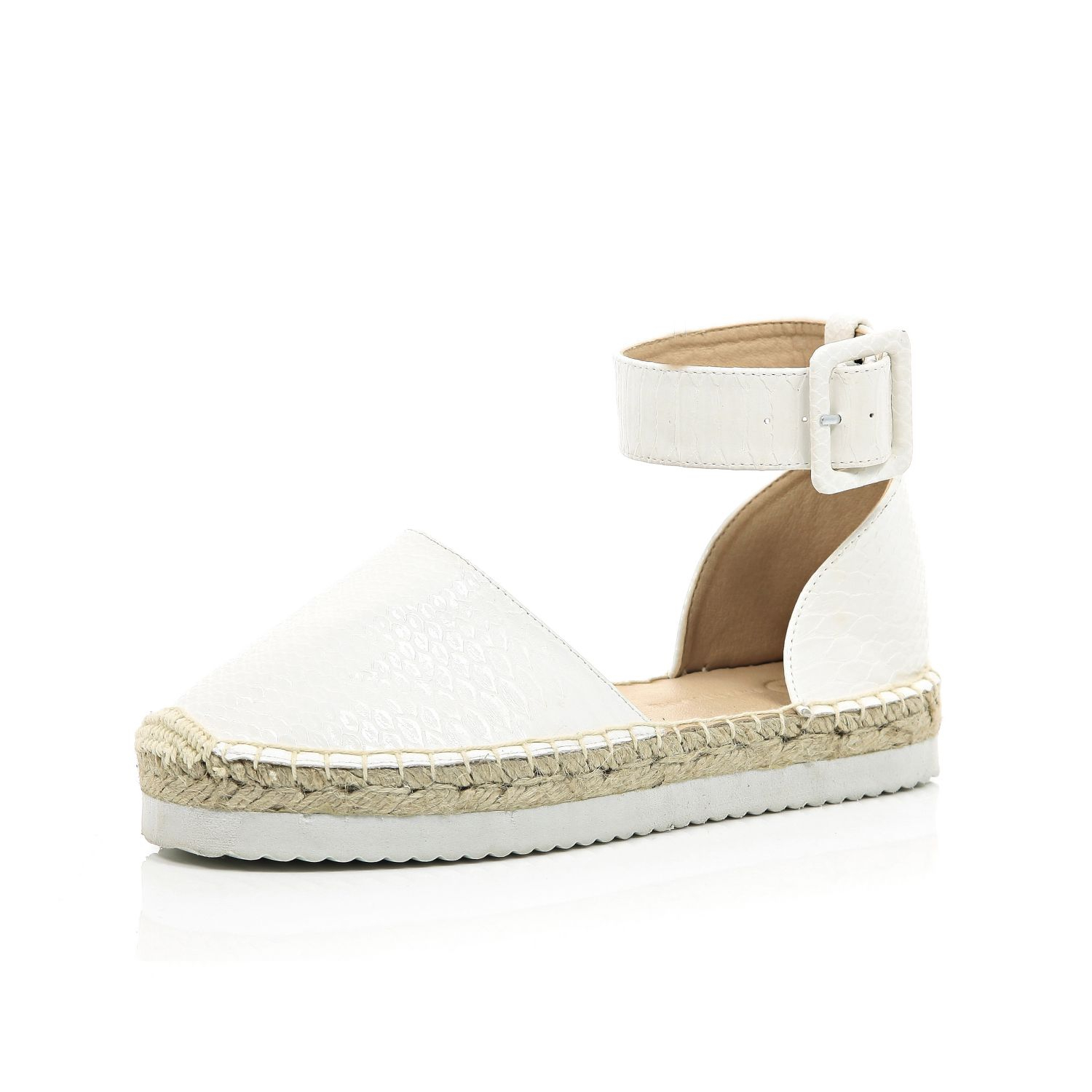 0315ec403ed River Island White Chunky Ankle Strap Espadrilles in White - Lyst