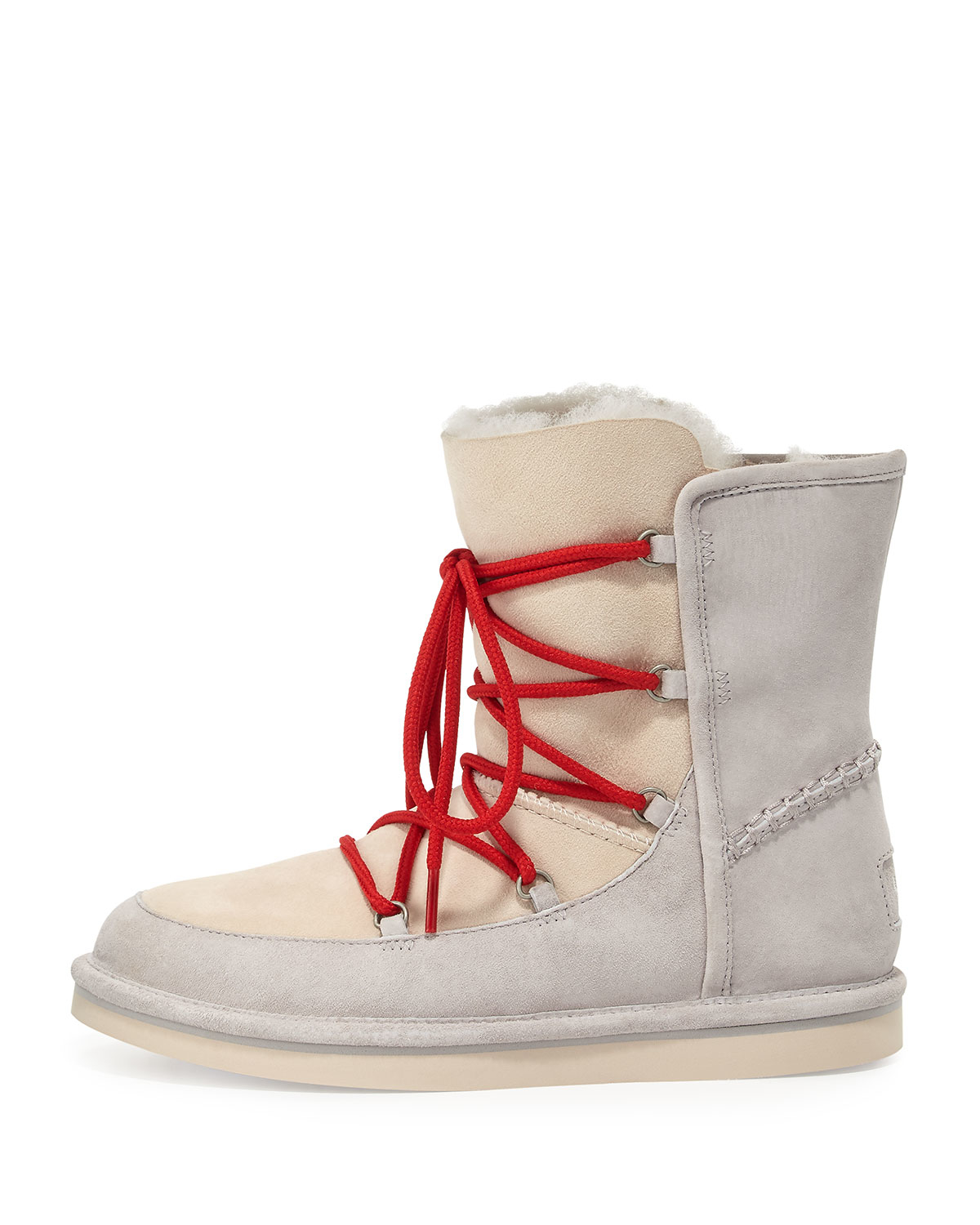 ugg short lace up shearling boots