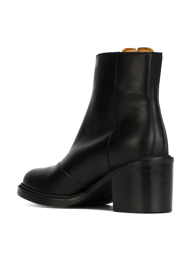 MM6 by Maison Martin Margiela Contrast Panel Ankle Boots in Black