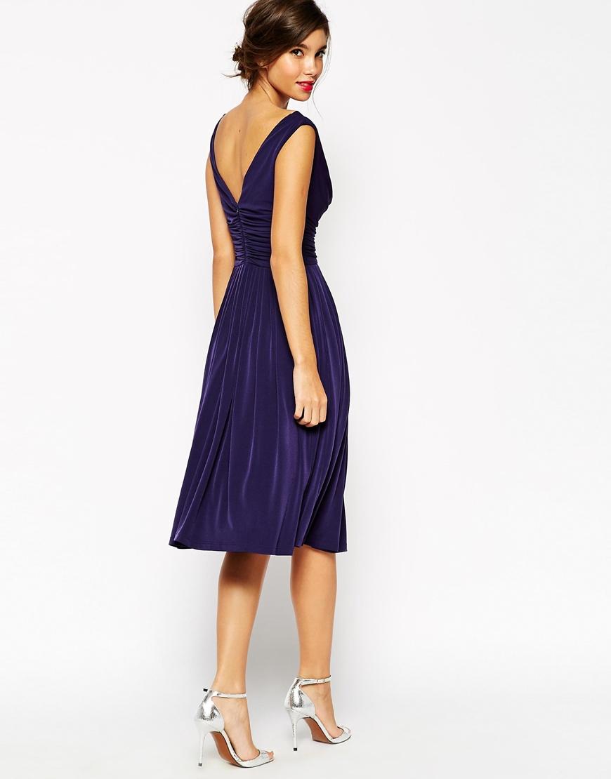 Lyst asos wedding drape cowl neck pleated midi dress in blue for Dresses for women wedding
