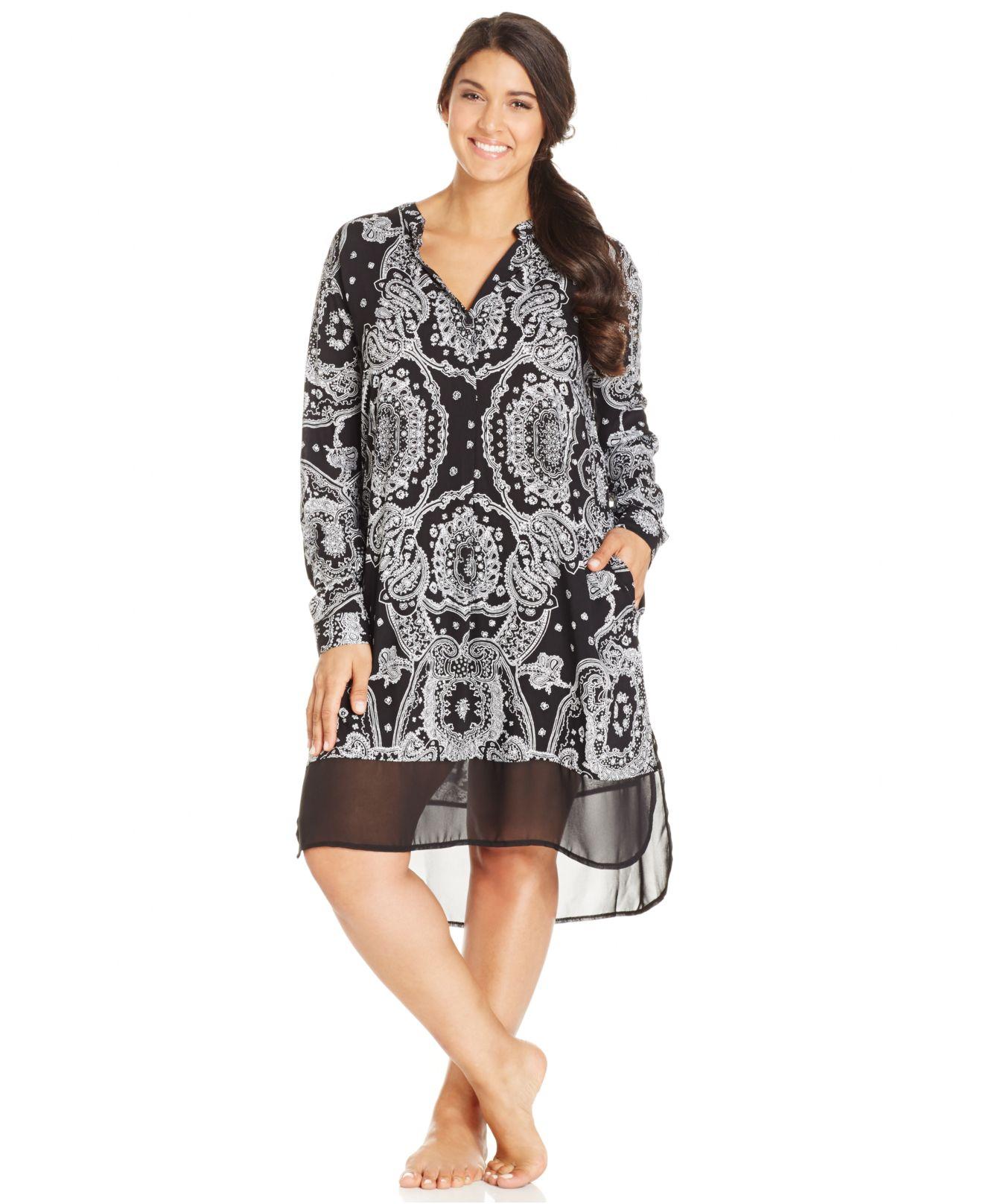 Dkny plus size bandana print long sleeve sleepshirt in for Handkerchief shirt plus size