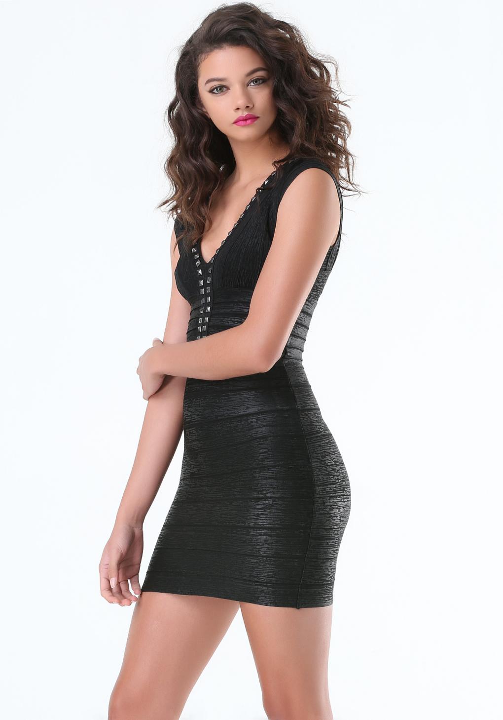 Bebe Studded Foil Bandage Dress In Black Lyst