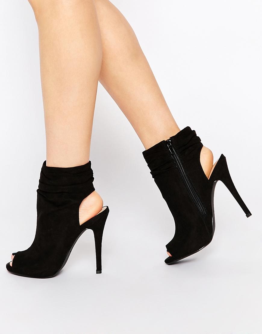 Lyst - Call It Spring Talewen Black Peep Toe Heeled Shoe Boots in Black ac1993fb6