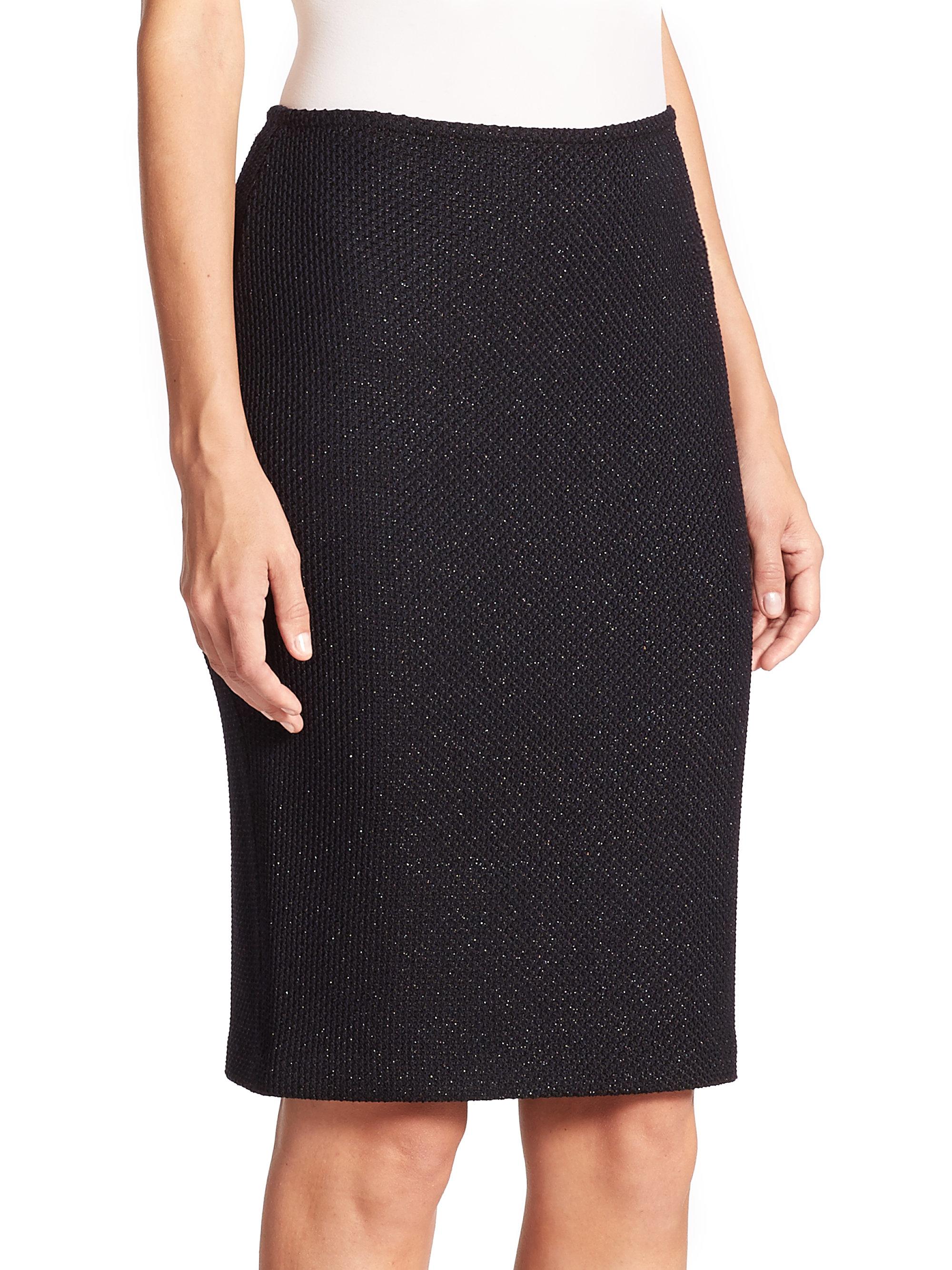 St John Shimmer Knit Sequin Trim Skirt In Black Lyst