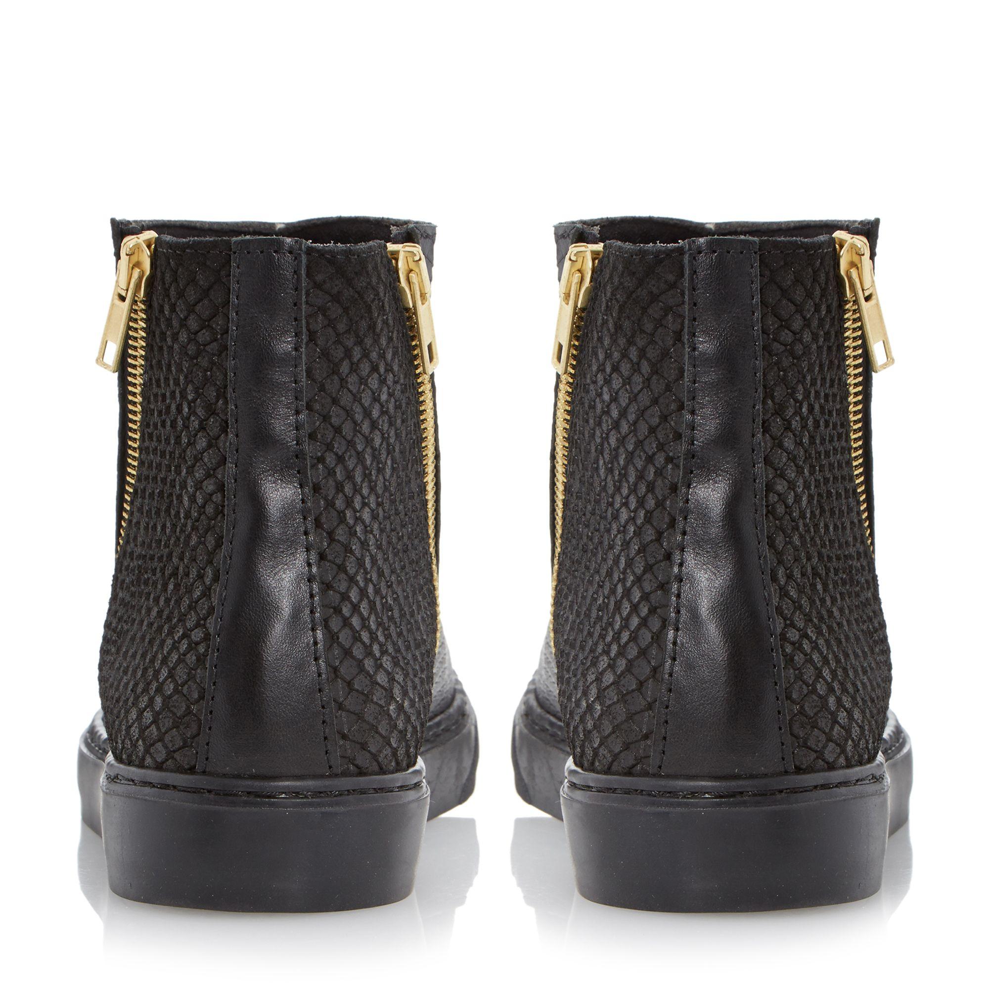 Dune Paddo Leather Side Zip Hi Top Trainer in Black