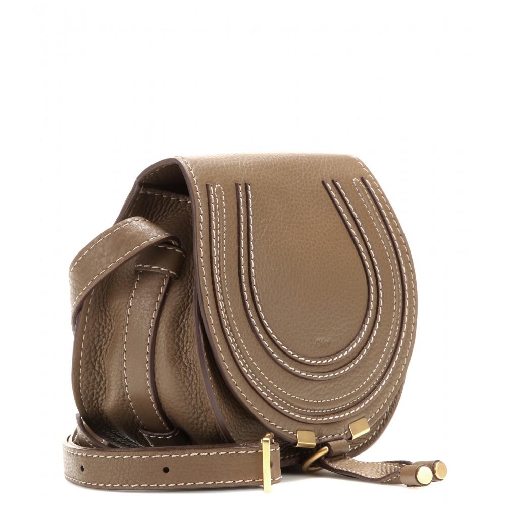 chlo marcie small leather shoulder bag in brown lyst. Black Bedroom Furniture Sets. Home Design Ideas