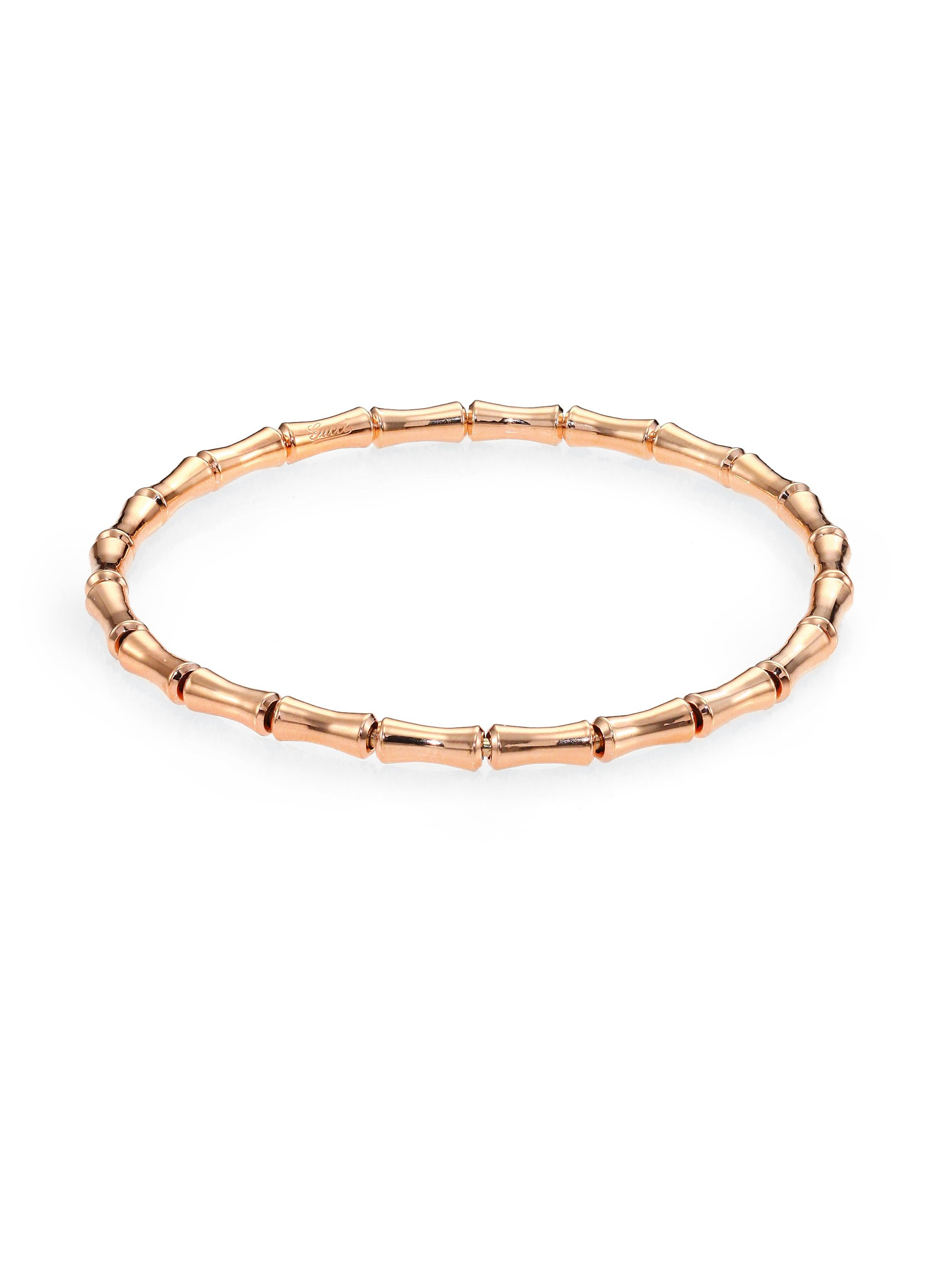 gucci bamboo 18k gold thin bracelet in pink lyst