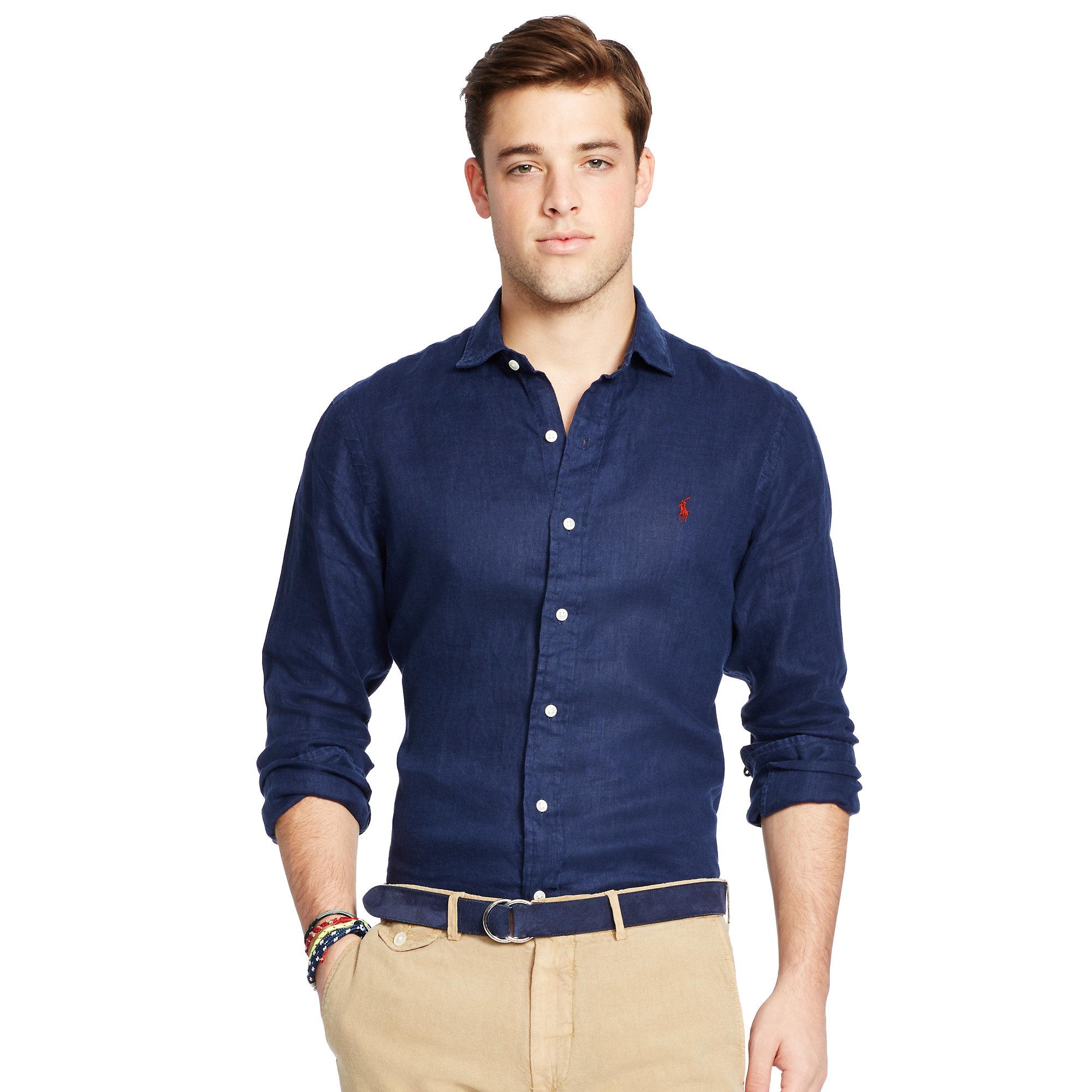 f07a9c33 Polo Ralph Lauren Blue Estate Linen Sport Shirt for men