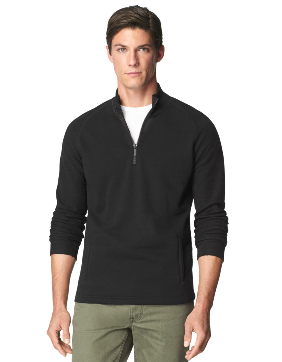 calvin klein jeans french terry quarter zip pullover in. Black Bedroom Furniture Sets. Home Design Ideas