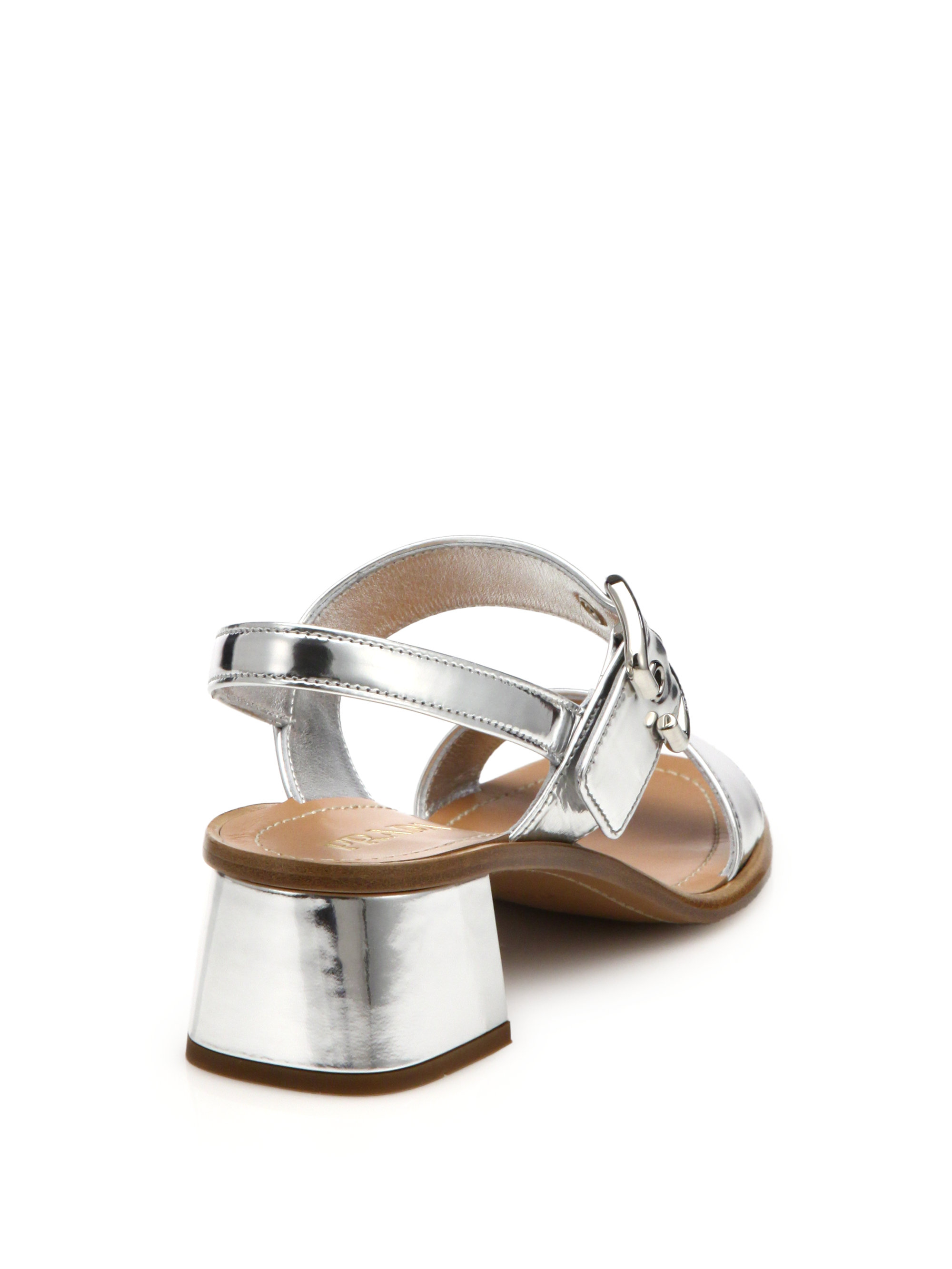 Prada Metallic Leather Low Block Heeled Sandals Lyst