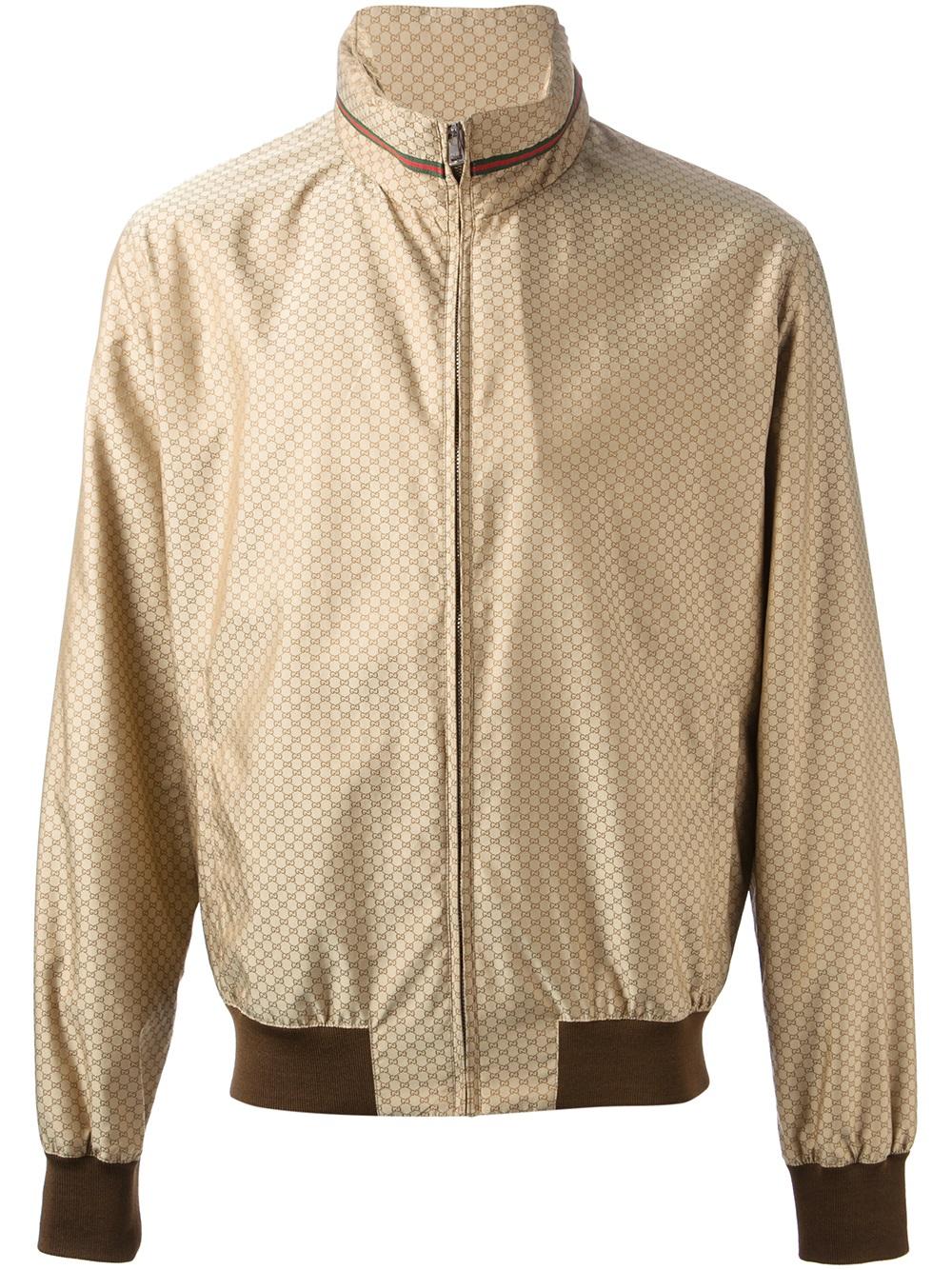 Lyst - Gucci Monogram Bomber Jacket in Brown for Men 661b3ea1219f