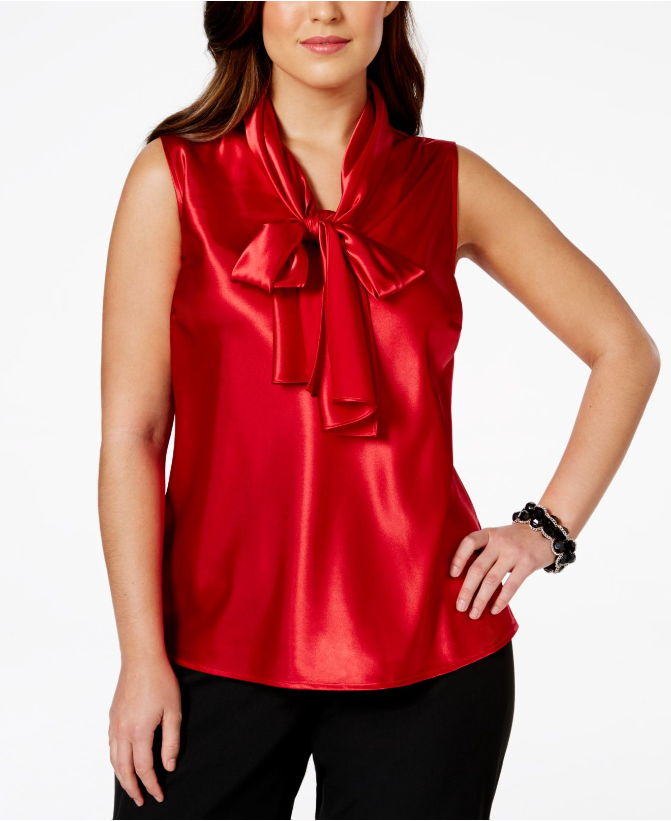 Plus size red satin blouse collar blouses for Satin shirt dress plus size