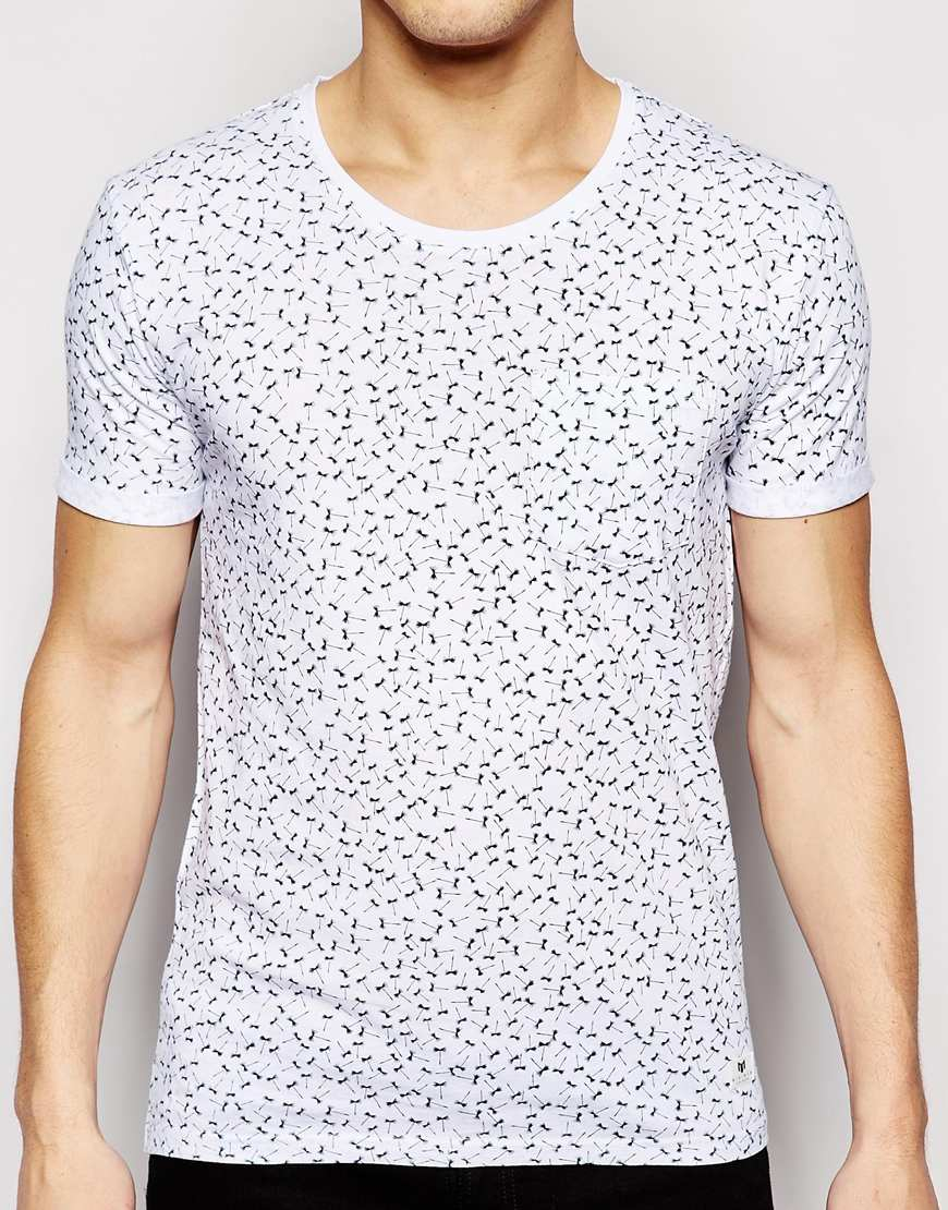 Minimum T Shirt With All Over Print In White For Men Lyst