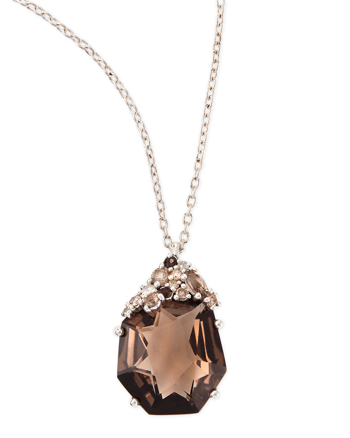 Lyst alexis bittar fine smoky quartz diamond pendant necklace gallery mozeypictures Gallery