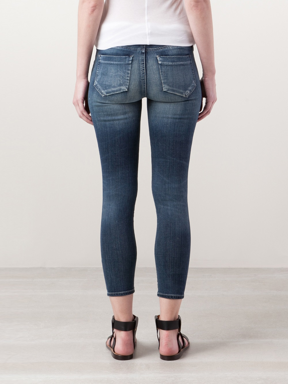 Goldsign Glam Skinny Leg Cropped Jeans in Blue