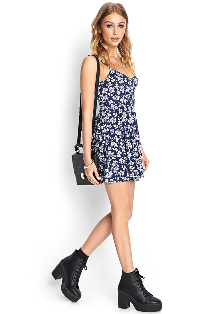Forever 21 Synthetic Paisley Print Wrap Dress In Navy