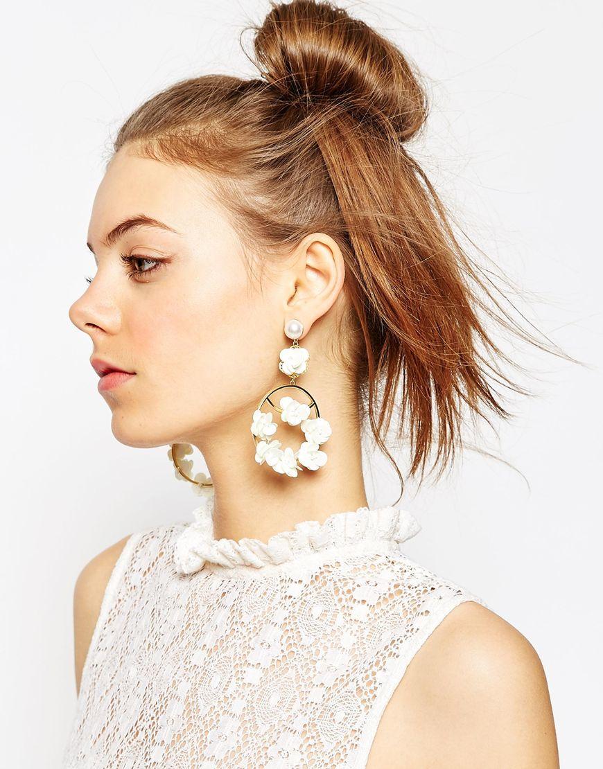 Asos Wedding Sequin Flower Chandelier Earrings in Metallic | Lyst