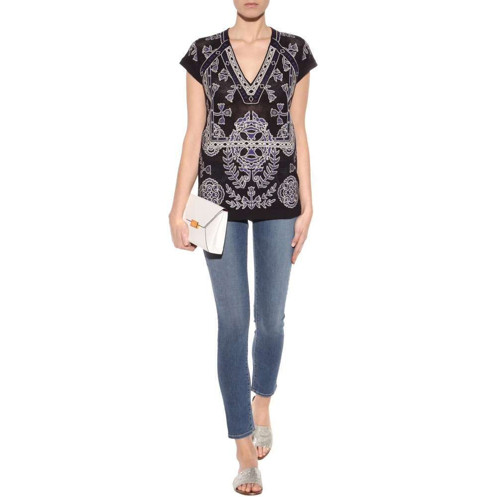 J Brand Skinny Mid-Rise Stretch-Denim Jeans in Blue