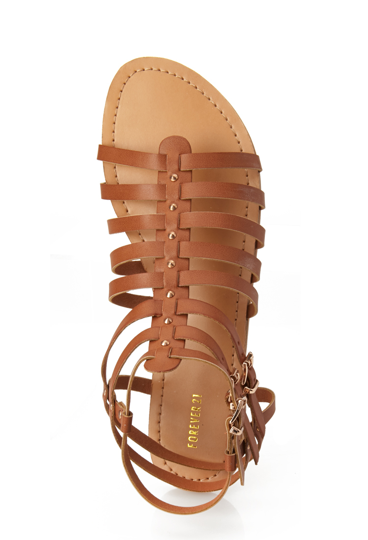 Forever 21 Studded Gladiator Sandals In Brown Lyst