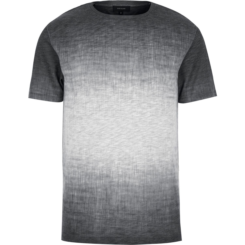 0e1b25f9334 River Island Gray Dark Grey Textured Faded T-shirt for men