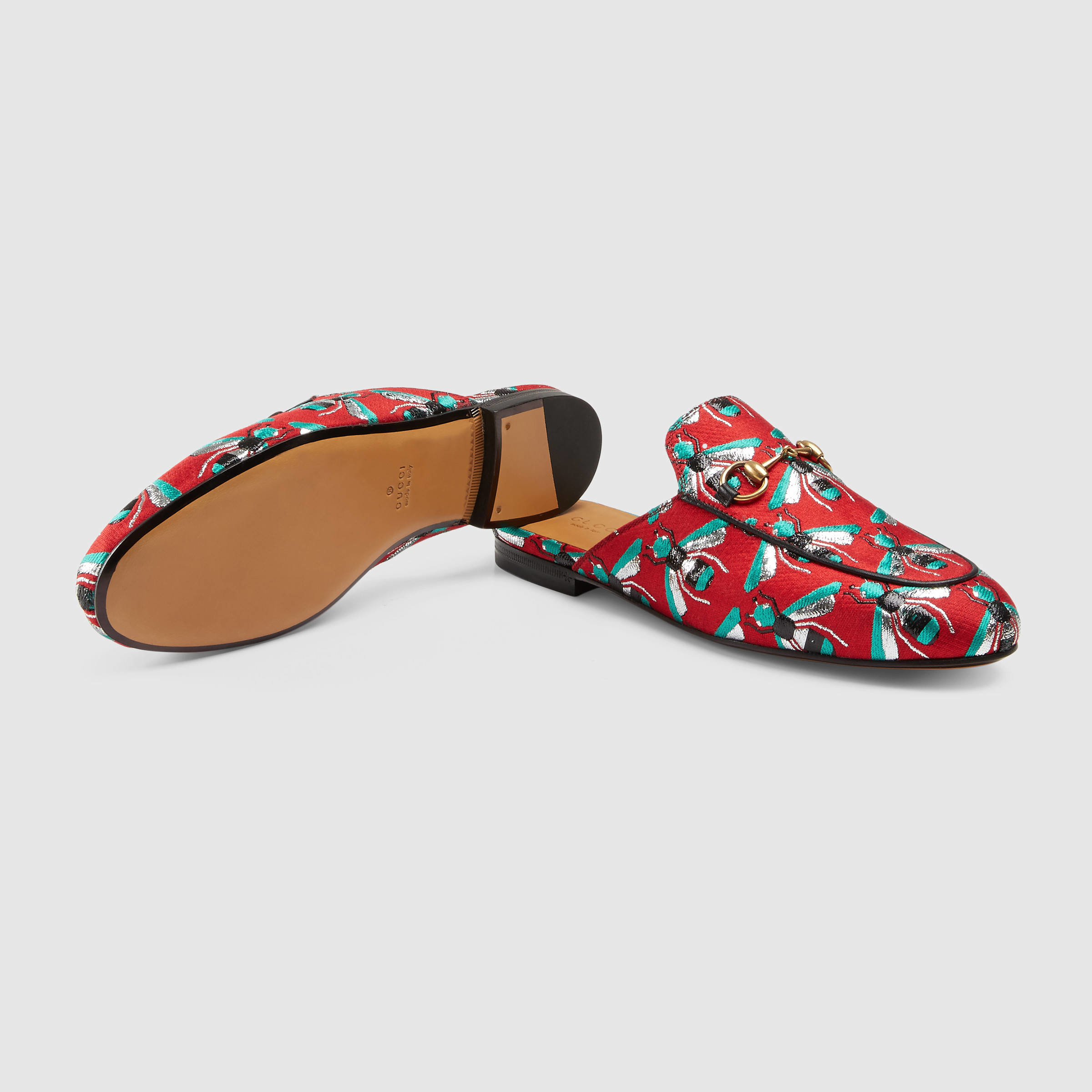 008befda182 Lyst - Gucci Princetown Bee Jacquard Mules