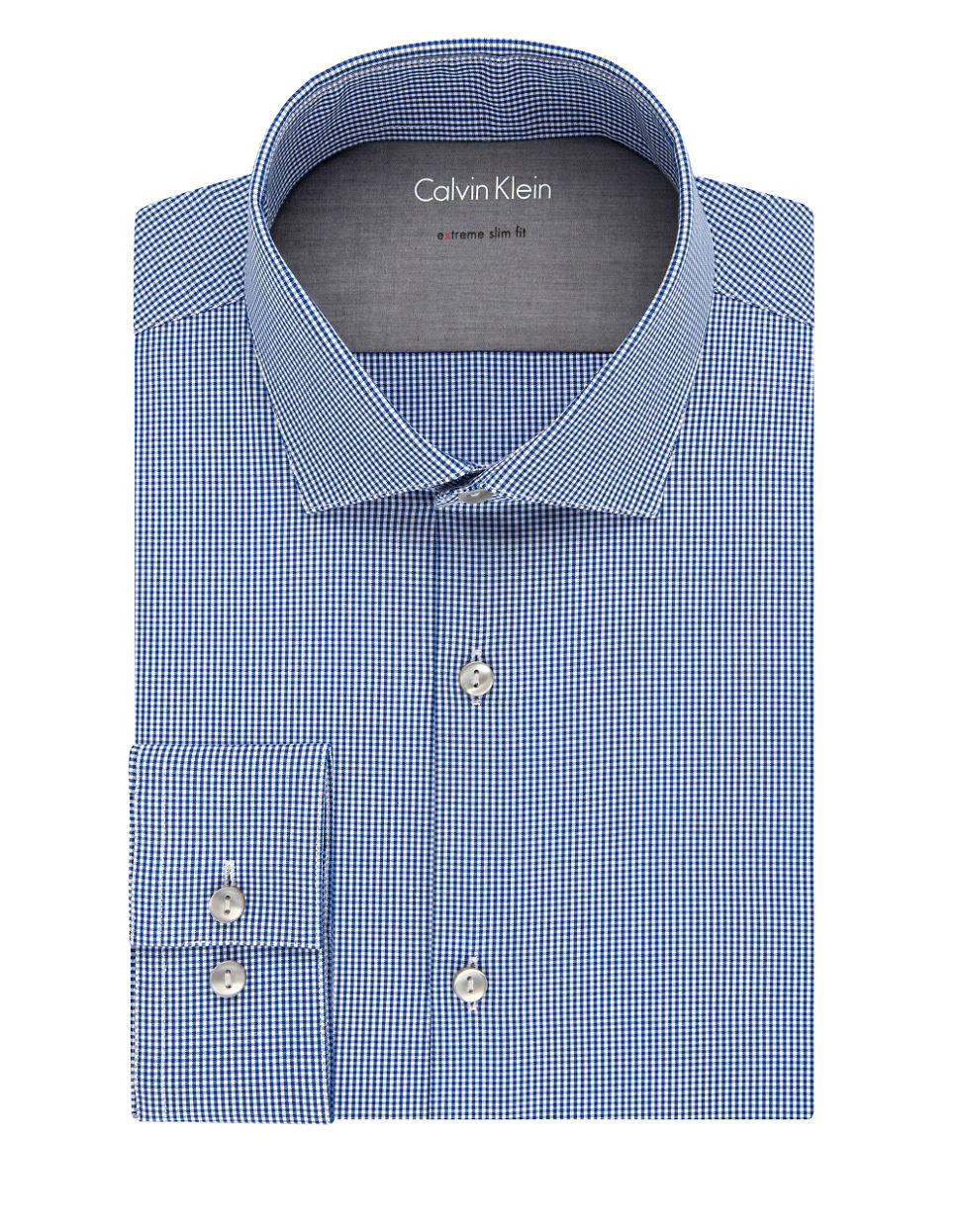 Calvin klein slim fit plaid dress shirt in blue for men lyst for Calvin klein athletic fit dress shirt