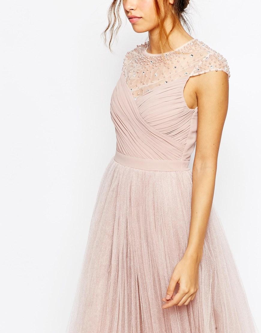 Tulle Dress With Sequin Upper - Mink Little Mistress Sale Best Wholesale Sale 2018 Unisex 1yGBO