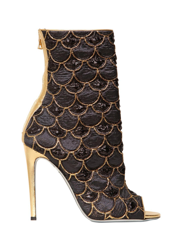 Balmain 110mm Lurex Embroidered Peep Toe Boots In Black