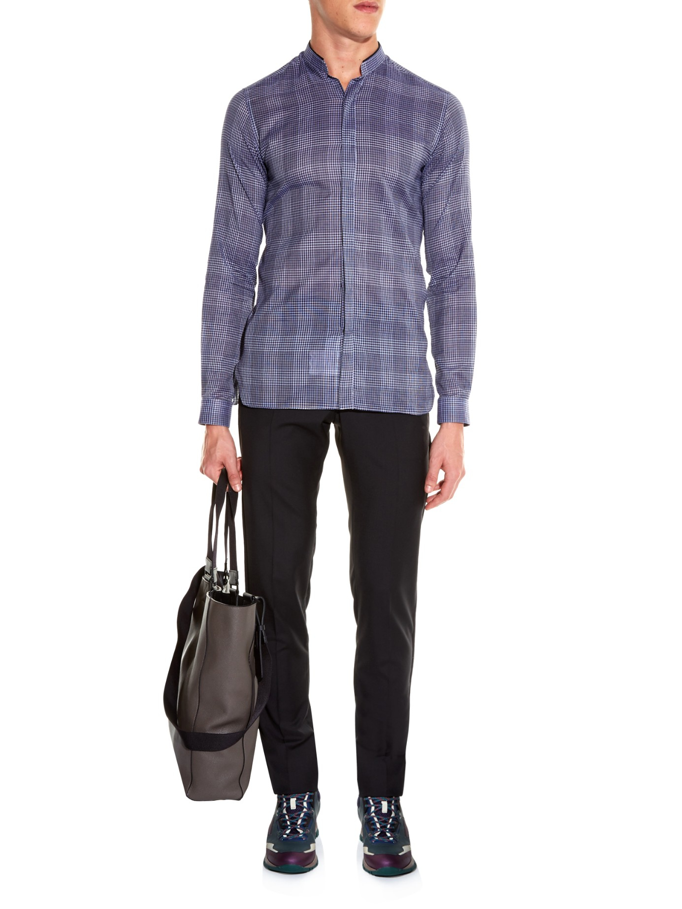 Stand Collar Shirts Designs : Lanvin stand collar checked shirt in blue for men lyst