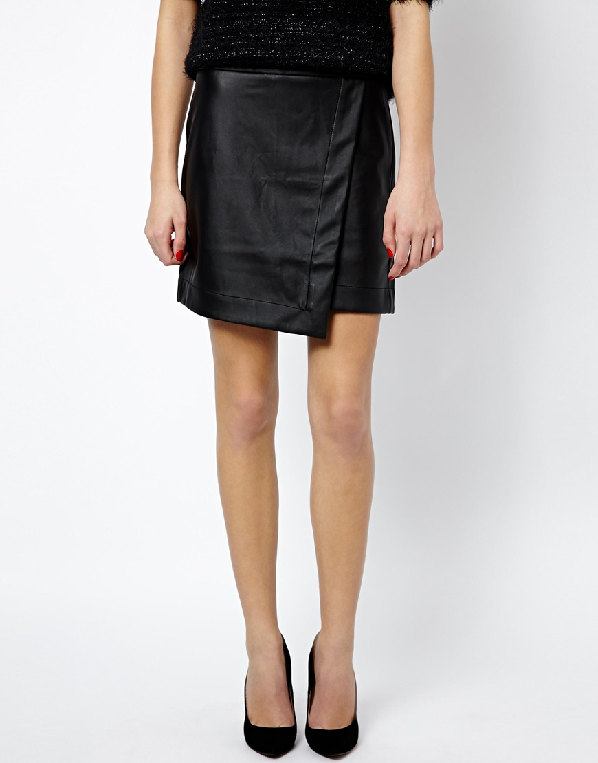 oasis leather look wrap skirt in black lyst