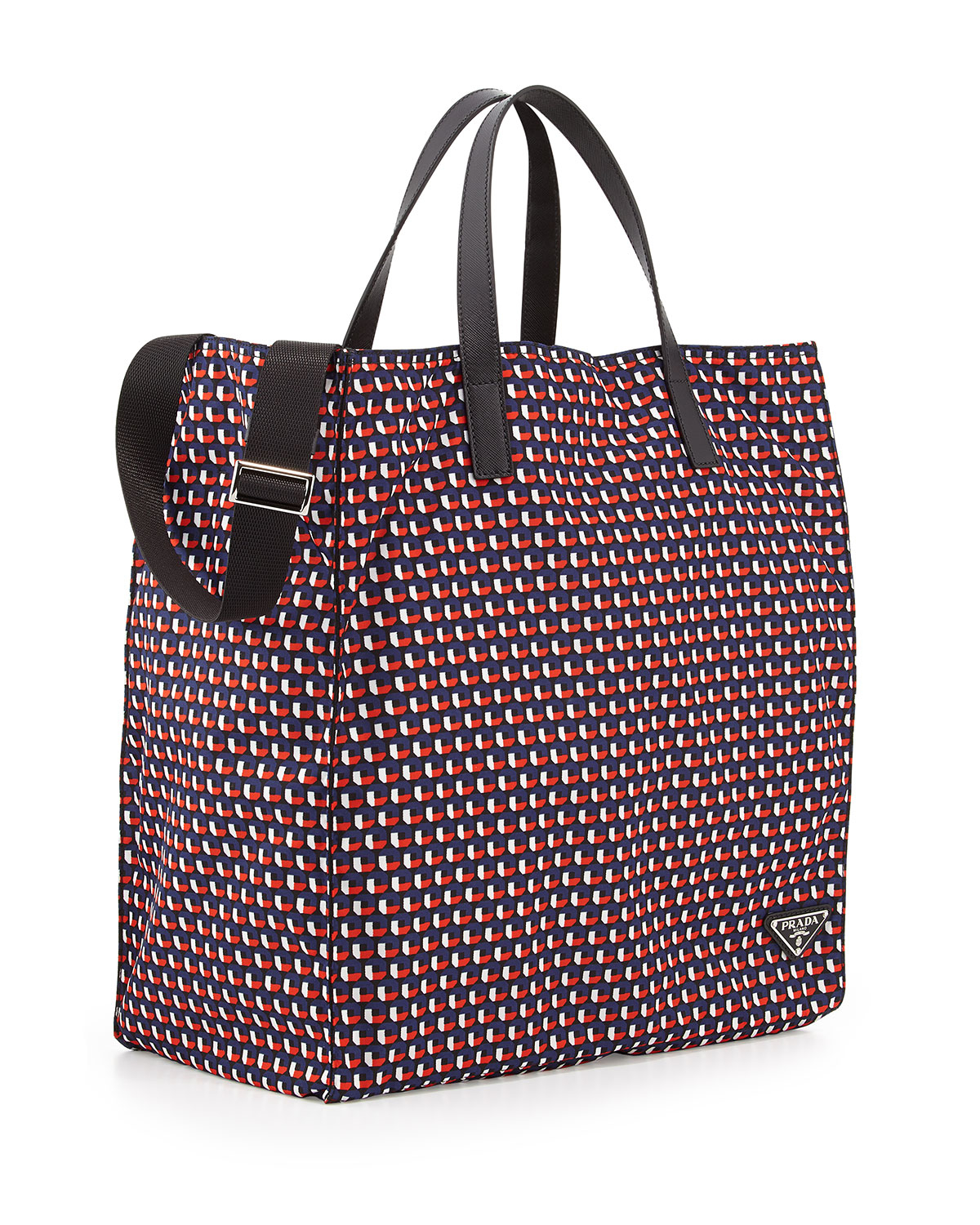 Lyst Prada Men S Octagon Print Nylon Tote Bag In Red