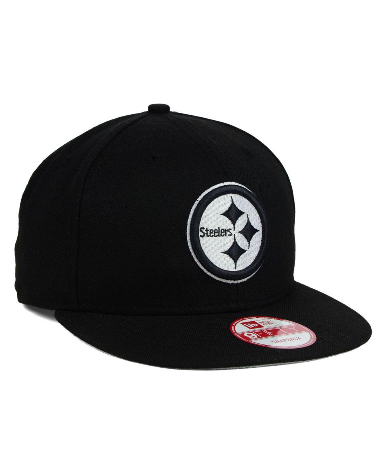 0002004f KTZ Pittsburgh Steelers Black White 9Fifty Snapback Cap for men