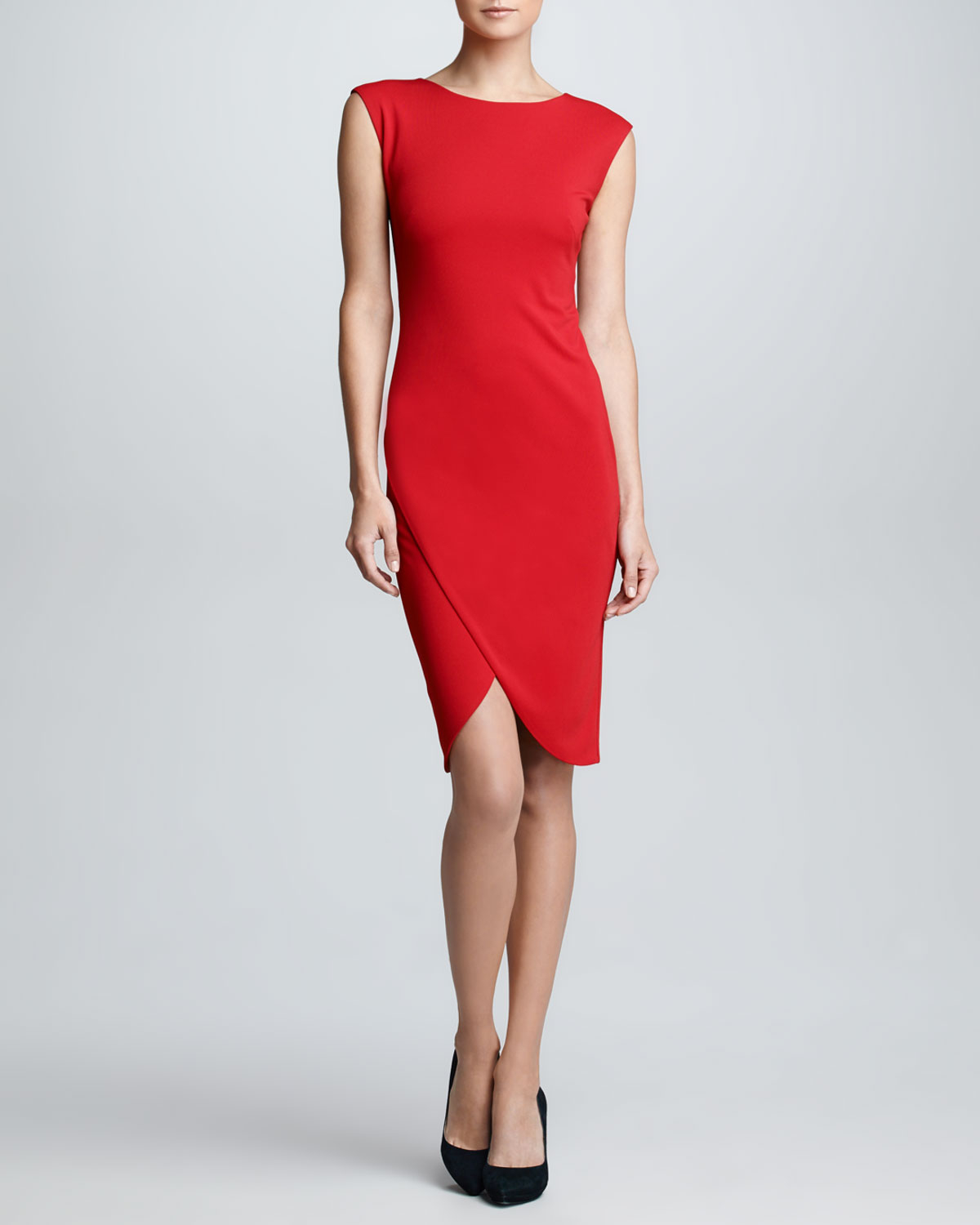 1a2f92160f Ralph Lauren Black Label Capsleeve Envelope Dress Rouge in Red - Lyst