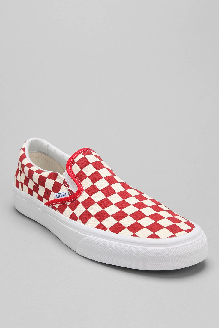 Vans Slipon Checkerboard Mens Sneaker In Red For Men Lyst