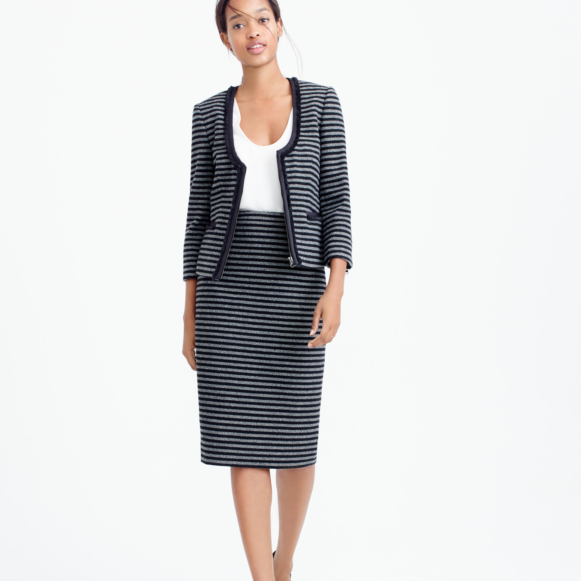 Lyst j crew striped tweed pencil skirt in black for Jcrew com