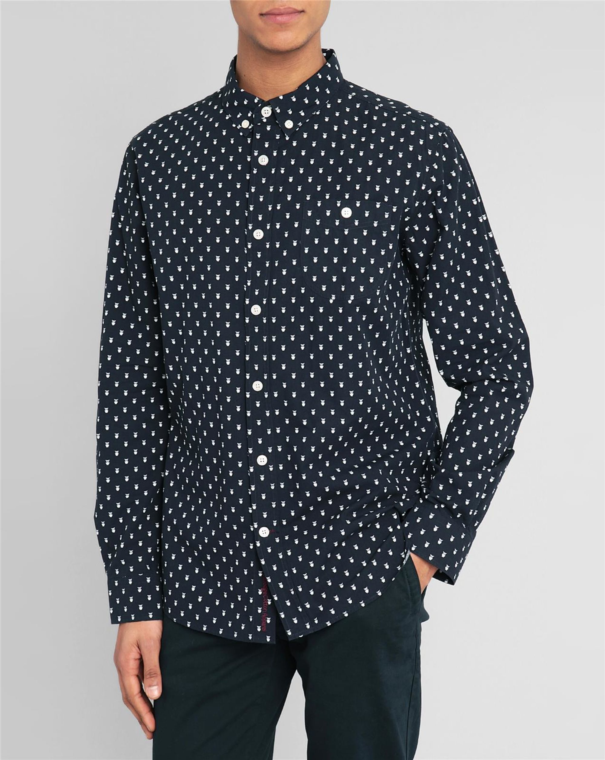 knowledge cotton apparel navy blue shirt with all over owl print in blue for men lyst. Black Bedroom Furniture Sets. Home Design Ideas