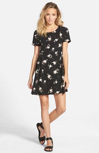 Lyst Lush Print Short Sleeve Swing Dress In Black