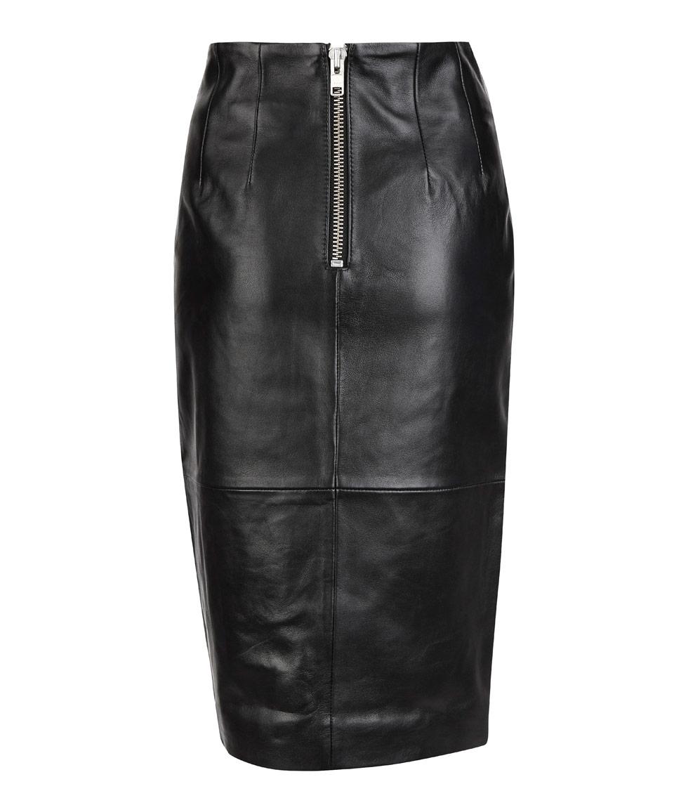 ganni black leather front slit midi skirt in black lyst