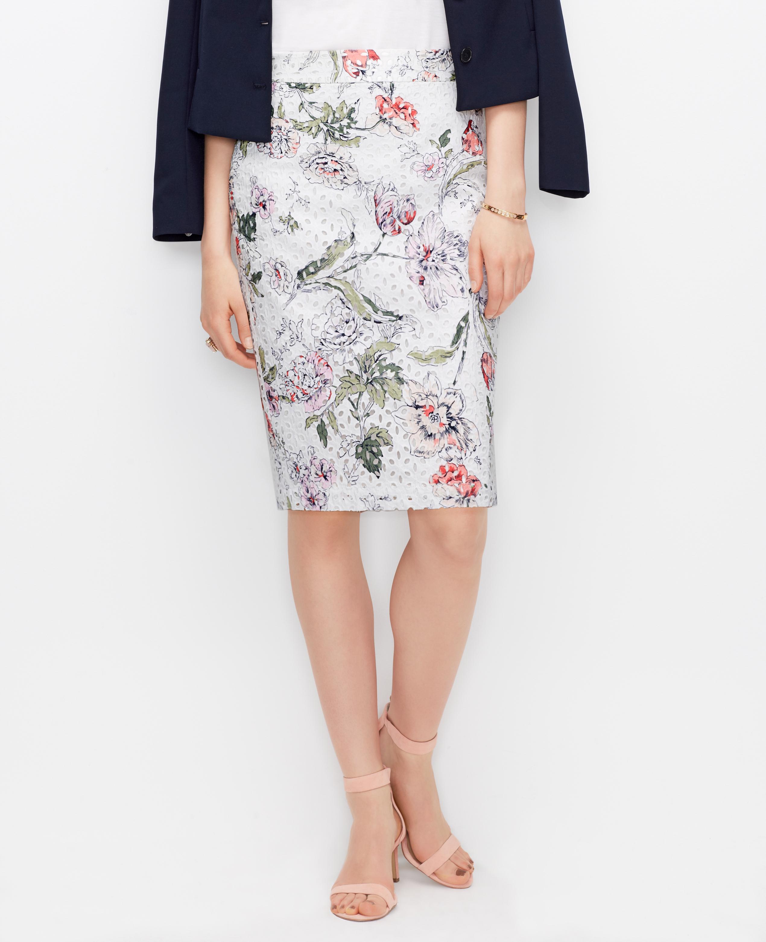 floral eyelet pencil skirt lyst