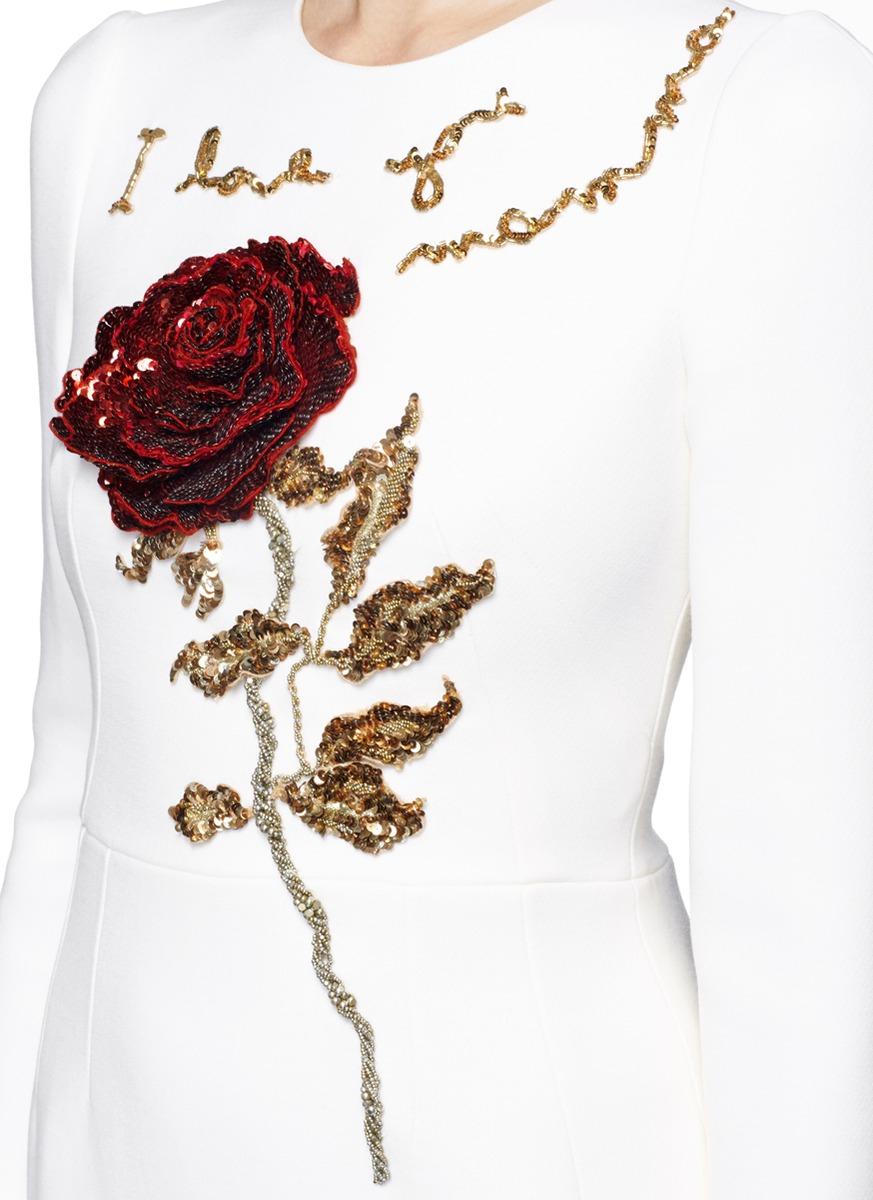 high quality guarantee sale online good quality 'i Love You Mamma' Rose Sequin Appliqué Virgin Wool Dress