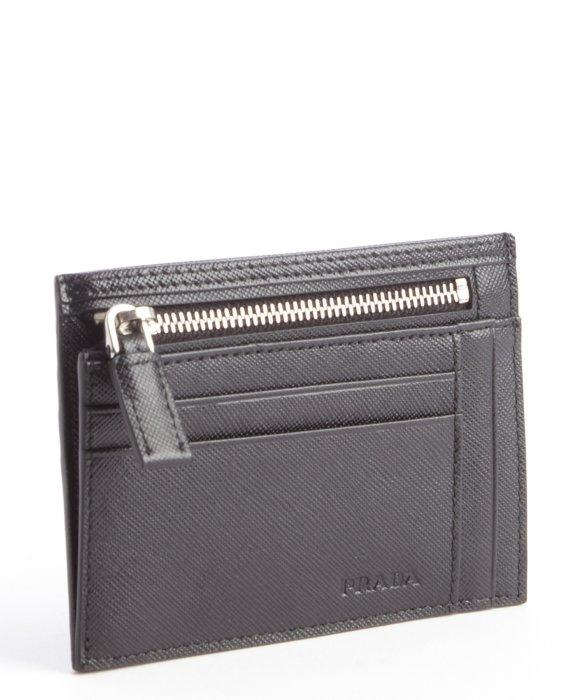 Lyst Prada Black Leather Zip Pouch Card Holder In Black