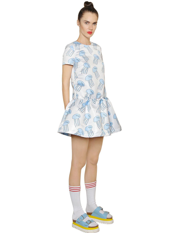 Au Jour Le Jour Jellyfish Printed Techno Duchesse Dress in Light Blue (Blue)