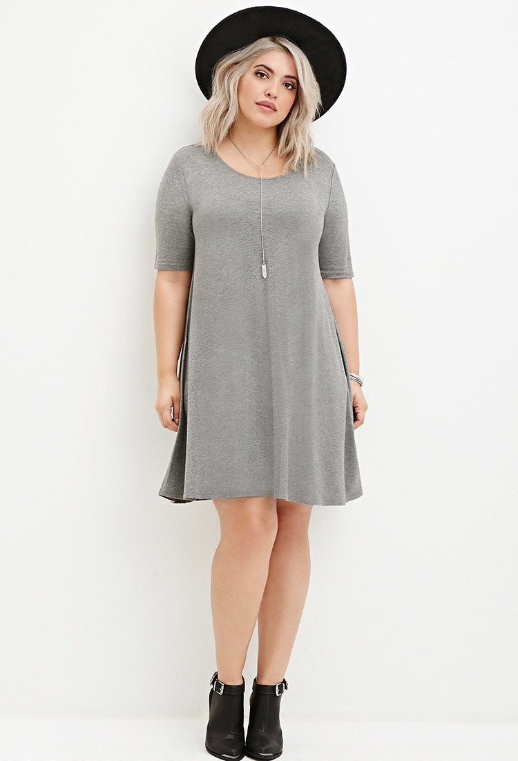 40d3e1a6c21 Lyst - Forever 21 Plus Size Trapeze T-shirt Dress in Gray